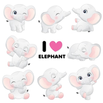 Schattige kleine olifant vormt met aquarel illustratie
