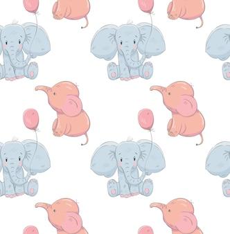Schattige kleine olifanten cartoon hand getrokken patroon
