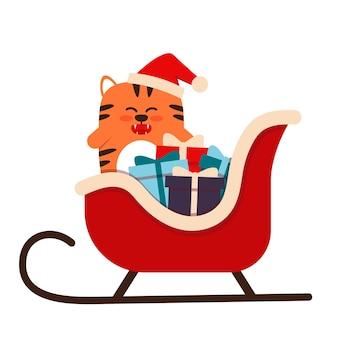 Schattige kleine oranje tijgerkat in een vlakke stijl. het symbool van het chinese nieuwjaar 2022. een dier met een kerstmuts met geschenken in een slee. voor banner, kinderkamer decor. vector illustratie.