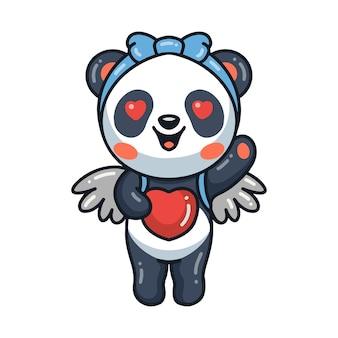 Schattige kleine panda engel cartoon met hart