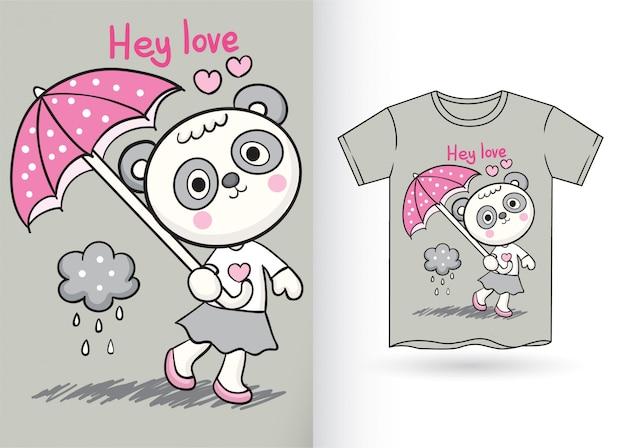 Schattige kleine panda hand getekend voor t-shirt