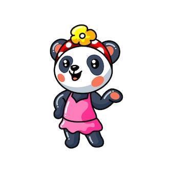 Schattige kleine panda meisje cartoon in een roze jurk