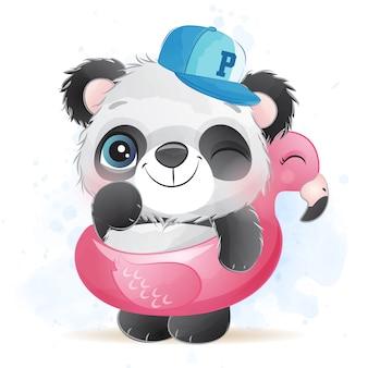 Schattige kleine panda met flamingo