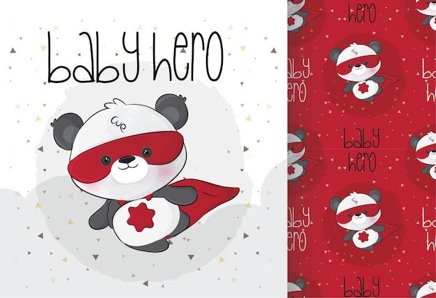 Schattige kleine panda superhelden karakter met naadloos patroon