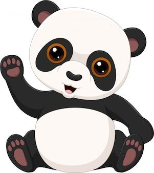 Schattige kleine panda zwaaien geïsoleerd op een witte achtergrond