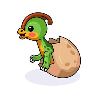 Schattige kleine parasaurolophus dinosaurus cartoon die uit ei komt