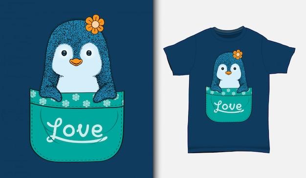 Schattige kleine pinguïn in de zak, met t-shirt design, hand getrokken
