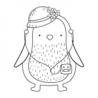 Schattige kleine pinguïn met vrouwelijke hoed en walkman