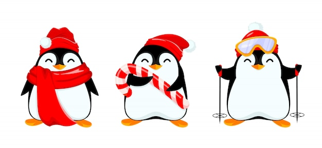 Schattige kleine pinguïn, set van drie poses,