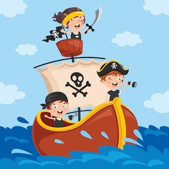 Schattige kleine piraat kinderen poseren