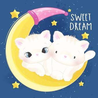 Schattige kleine poes in de maan zitten