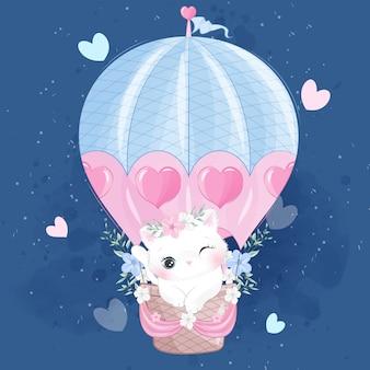 Schattige kleine poes vliegen met luchtballon
