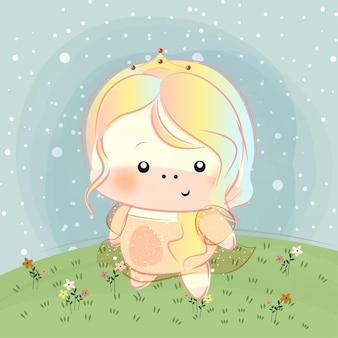 Schattige kleine prinses eenhoorn