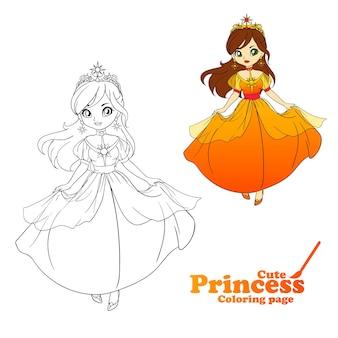 Schattige kleine prinses, hand getekende kunst. kleurrijke kunst om in te kleuren