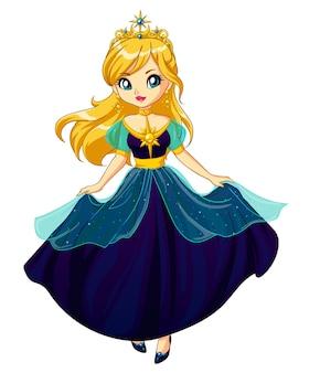 Schattige kleine prinses, hand getekende kunst.