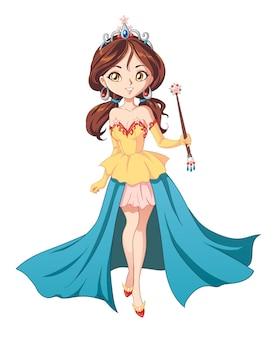 Schattige kleine prinses, hand getrokken kunst.