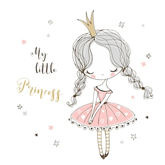 Schattige kleine prinses in doodle stijl.