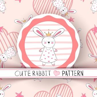 Schattige kleine prinses konijn cartoon
