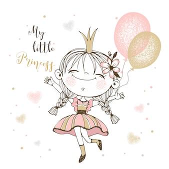 Schattige kleine prinses met ballonnen.