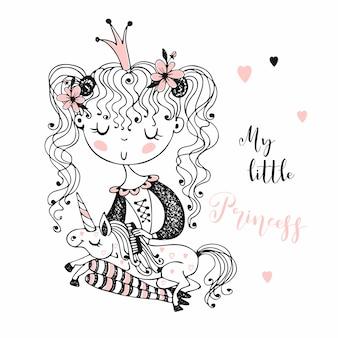 Schattige kleine prinses met een eenhoorn.