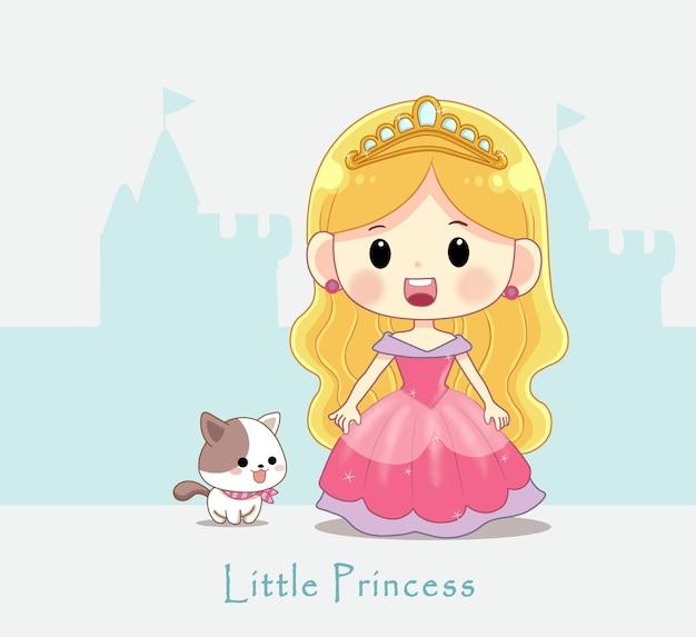 Schattige kleine prinses met kleine kat cartoon afbeelding