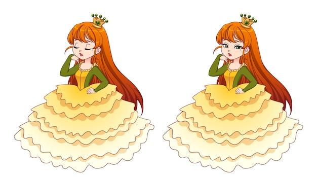 Schattige kleine prinses met rood haar in gele baljurk en gouden kroon grote cartoonkop cartoon
