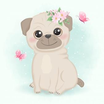 Schattige kleine pug en vlinder hand getekende cartoon