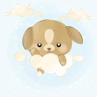 Schattige kleine puppy en wolken