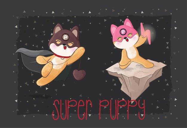 Schattige kleine puppy helden team illustratie