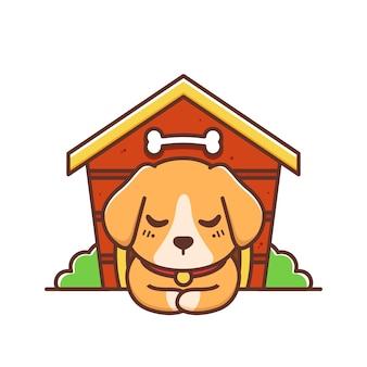 Schattige kleine puppy slapen in zijn huis