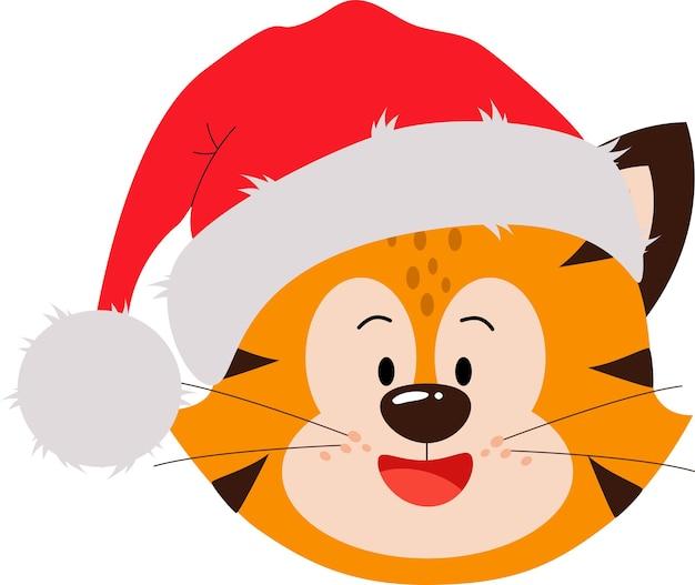 Schattige kleine rode tijgerwelp in een hoed met een grote glimlach een wenskaart met het jaar van de tijger