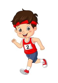 Schattige kleine runner jongen cartoon op witte achtergrond