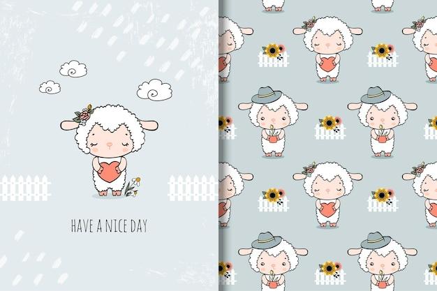 Schattige kleine schapen cartoon kaart en naadloos patroon. hand getekende illustratie