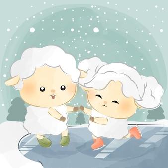 Schattige kleine schapen dansen