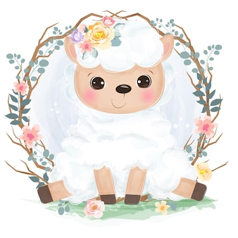 Schattige kleine schapen in aquarel stijl voor kinderkamer decoratie