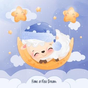 Schattige kleine schapen slapen op de maan