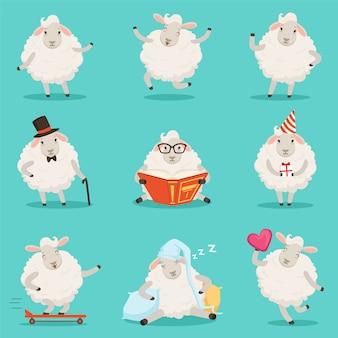 Schattige kleine schapen stripfiguren instellen voor labelontwerp