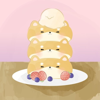 Schattige kleine shiba inu pannenkoek