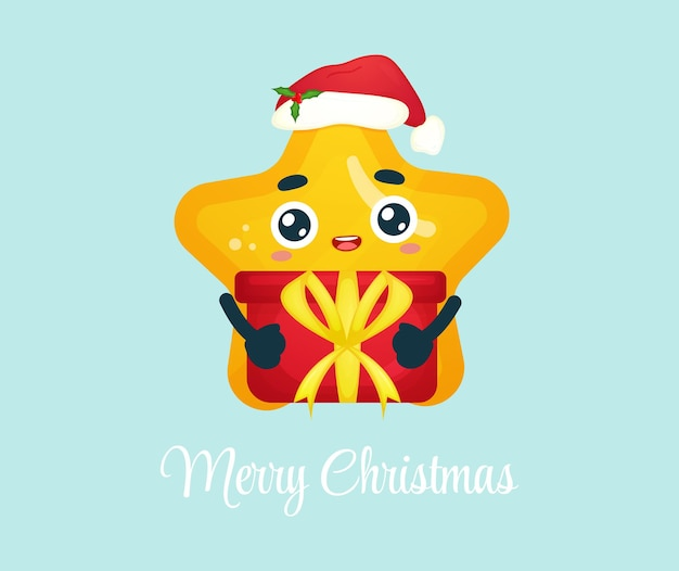 Schattige kleine ster knuffelend kerstcadeau voor vrolijke kerstillustratie premium vector