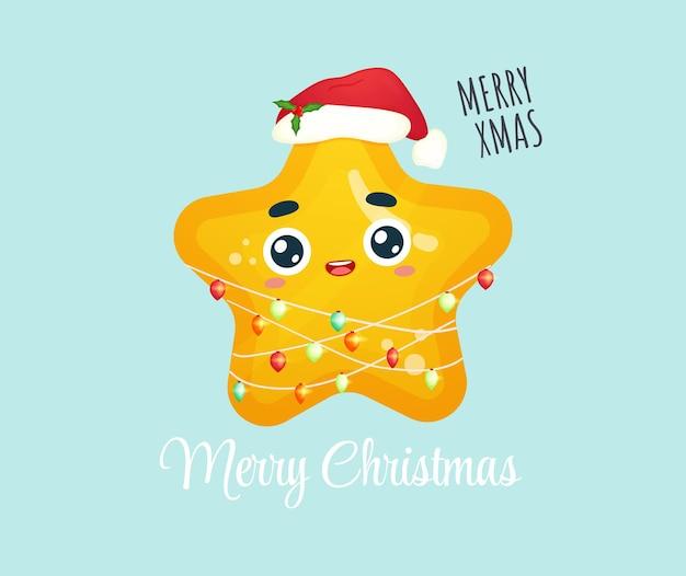 Schattige kleine ster met kerstlicht voor vrolijke kerstillustratie premium vector