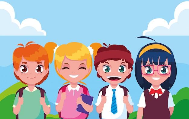 Schattige kleine student groep avatar karakter