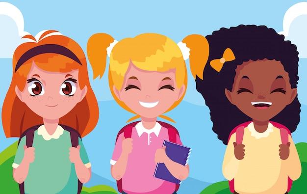 Schattige kleine student meisjes avatar karakter