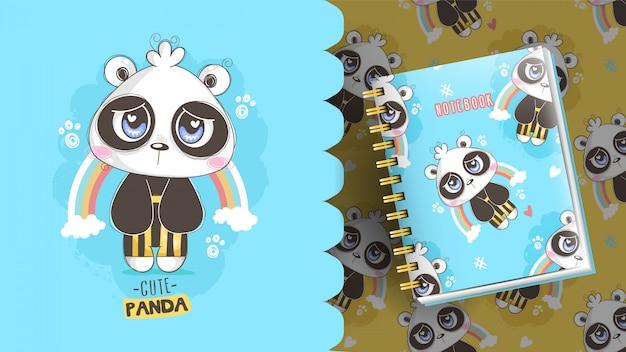Schattige kleine teddy panda met een regenboog