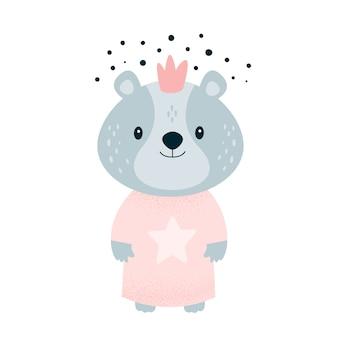 Schattige kleine teddybeer baby in kroon