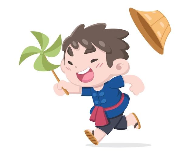 Schattige kleine thaise boer loopt, geniet van de cartoon afbeelding van een kleine bladwindmolen