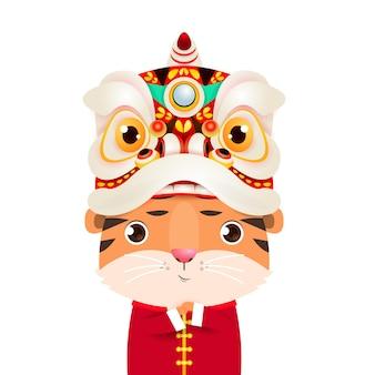 Schattige kleine tijger die leeuwendansillustratie draagt voor gelukkig chinees nieuwjaar 2022