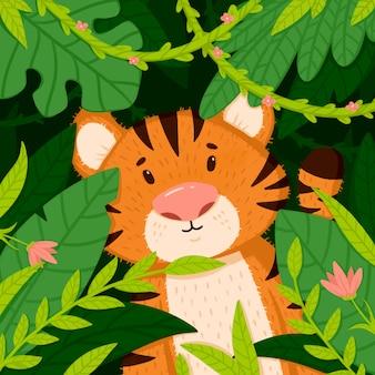 Schattige kleine tijger in de jungle.