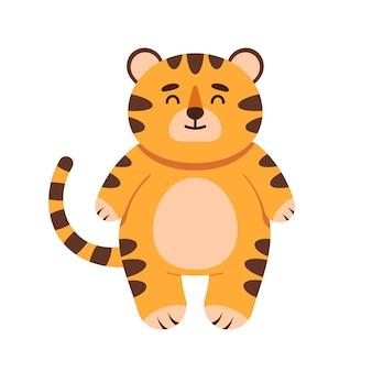 Schattige kleine tijger karakter in vlakke stijl. het symbool van het chinese nieuwjaar 2022. voor banner, kinderkamer, patroondecor. vector hand getekende illustratie.