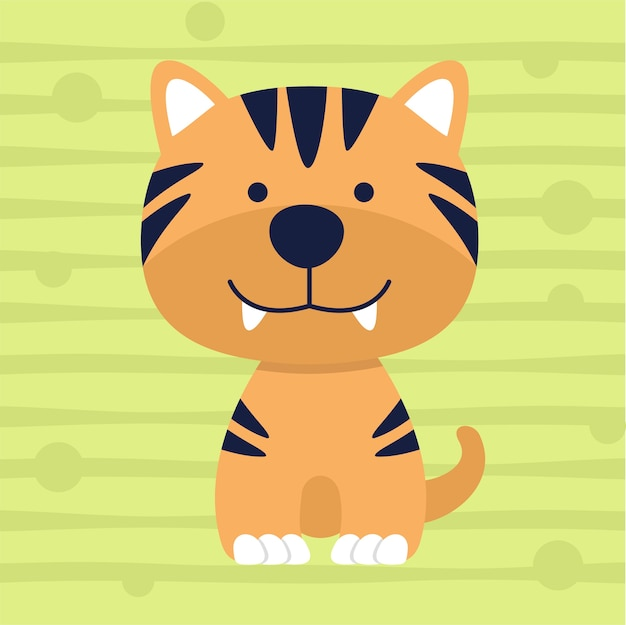 Schattige kleine tijger zachte kleur kinder t-shirt ontwerp