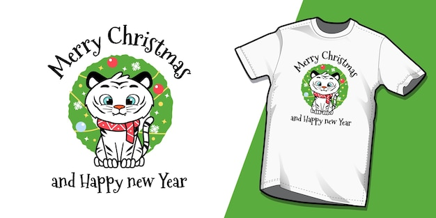 Schattige kleine tijgerkerstmis voor t-shirtontwerp